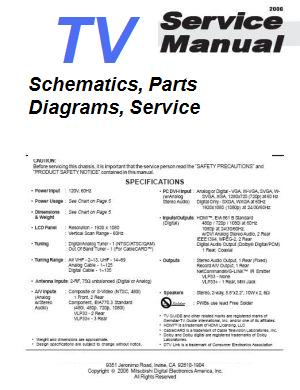 Hitachi 50VG825 Service Manual and Schematics.